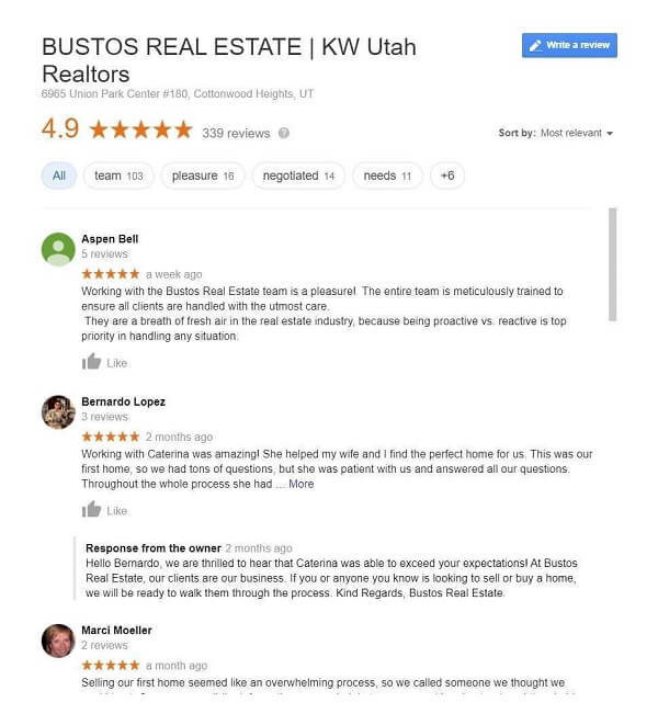 Real Estate Agency Responding To Google Review