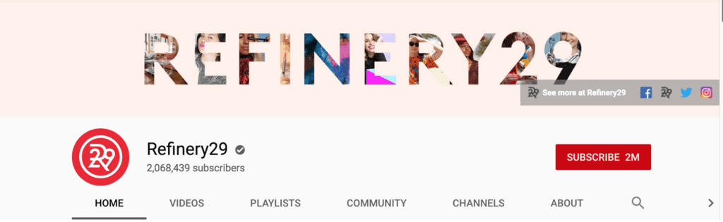 Refinery 29 YouTube banner
