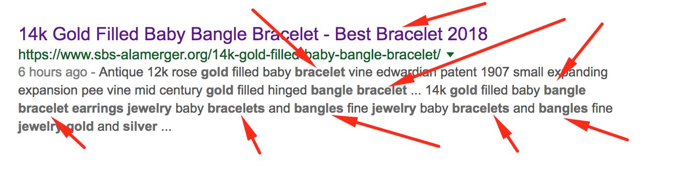 Bracelet keyword stuffing.
