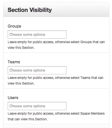 screenshot of open atrium groups organization display