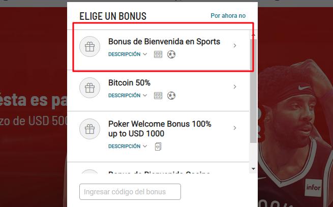 Crear cuenta en Bodog Perú