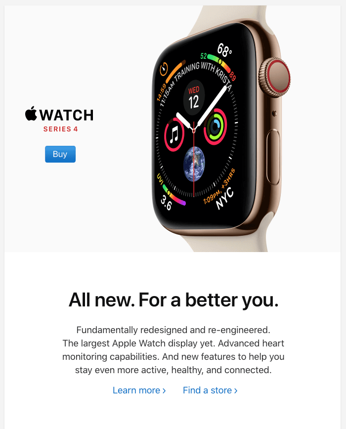 Apple watch email example.