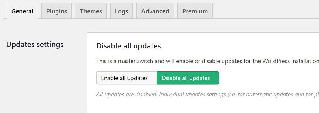 "Image of how to toggle off ""disable all updates"" in Easy Updates Manager"