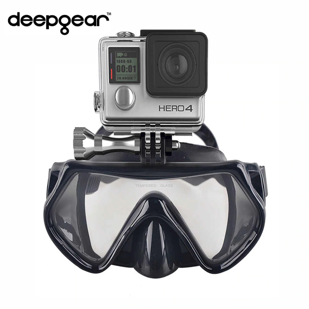 Tempered Glass Scuba Diving Snorkel Mask With Camera Mount For GoPro Camera