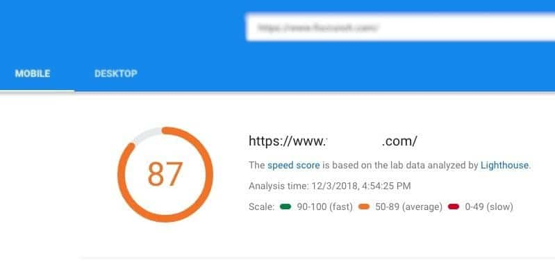 PageSpeed mobile report fourth site