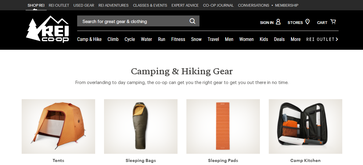 REI has the best camping gear