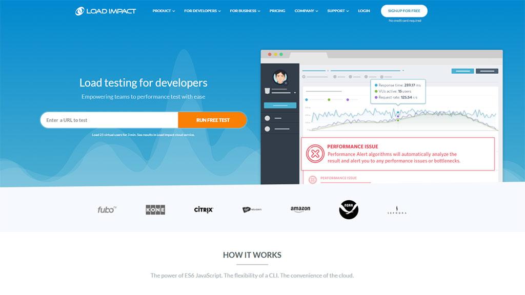 teste de velocidade de site load impact
