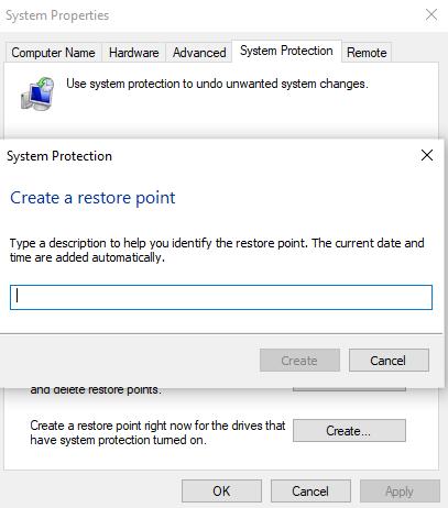 Create system restore