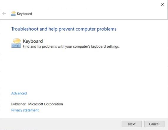 Windows Keyboard Troubleshooter