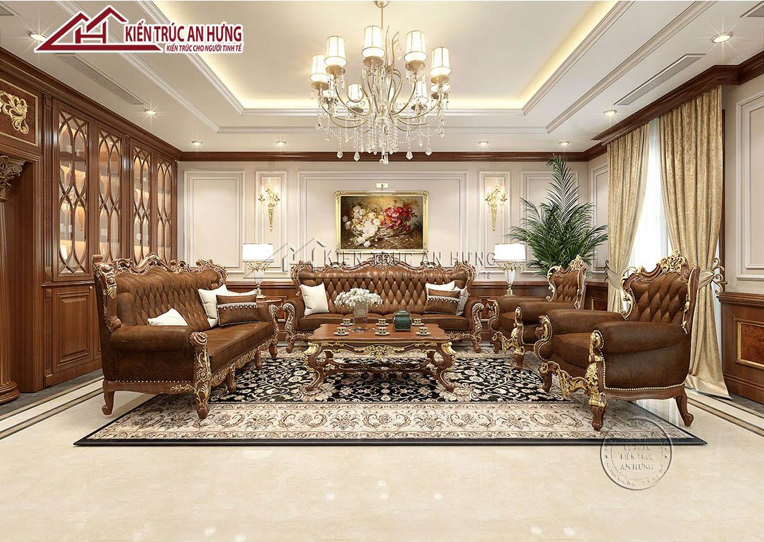 Phòng khách của biệt thự được thiết kế vô cùng đẳng cấp với thảm Ba Tư