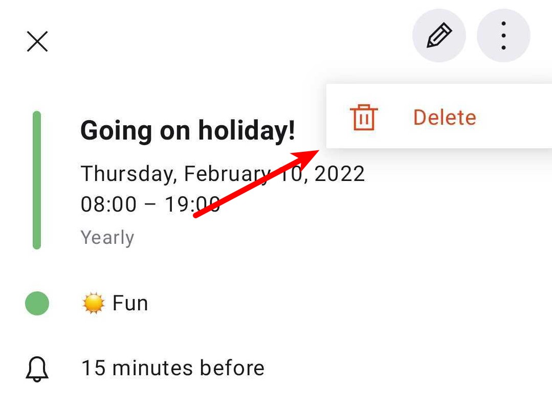Delete an event in Android or iOS