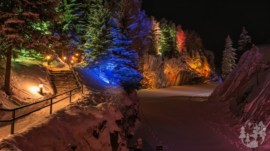 Подсветка парка зимой