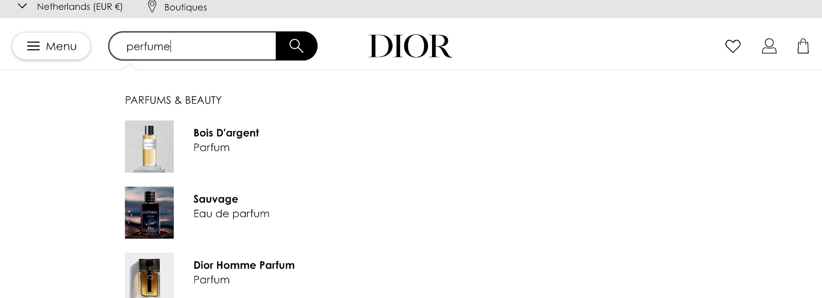 product taxonomy dior eCommerce examples