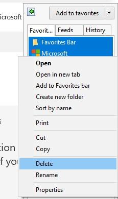 The Favorites segment in Internet Explorer