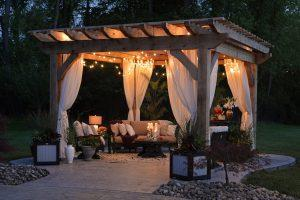 Gazebo in the garden at night