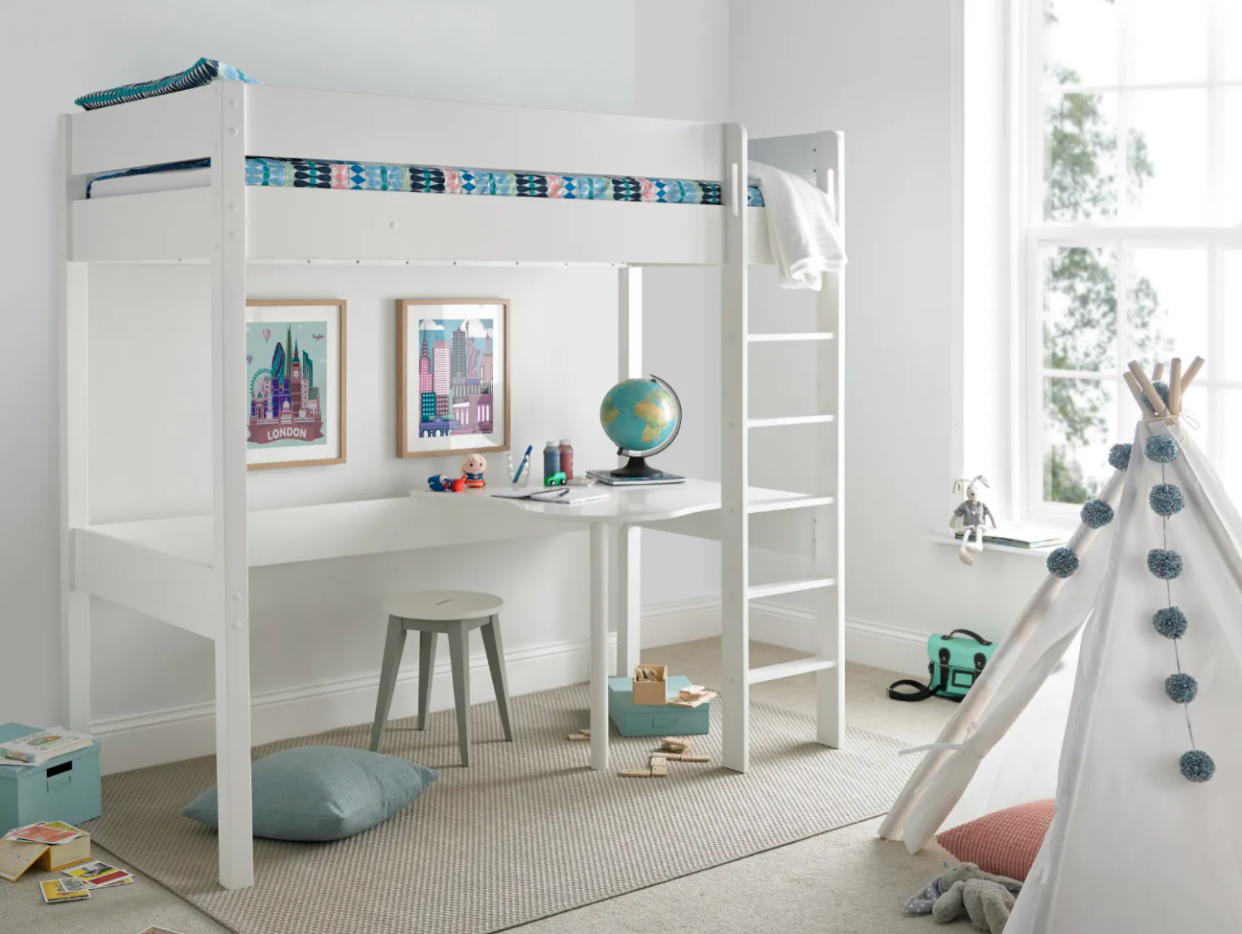 white bunk bed with ladder and desk