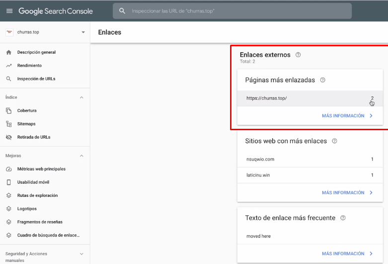 links externos no search console