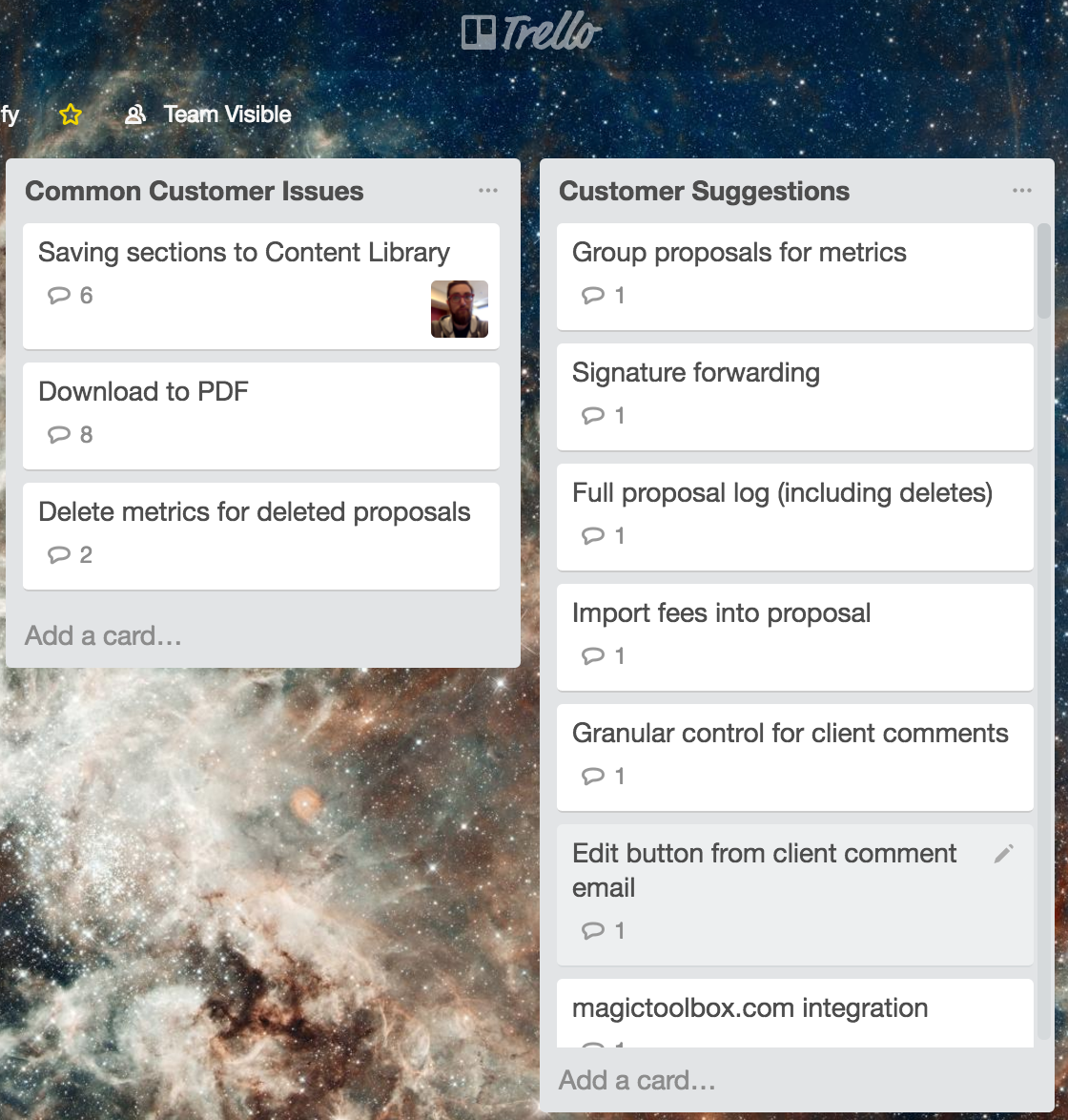 Trello board for common customer issues and customer suggestions