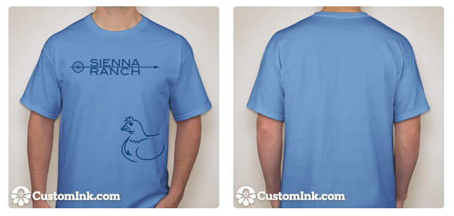 Dark blue logo and chicken image printed on a sky blue t-shirt.