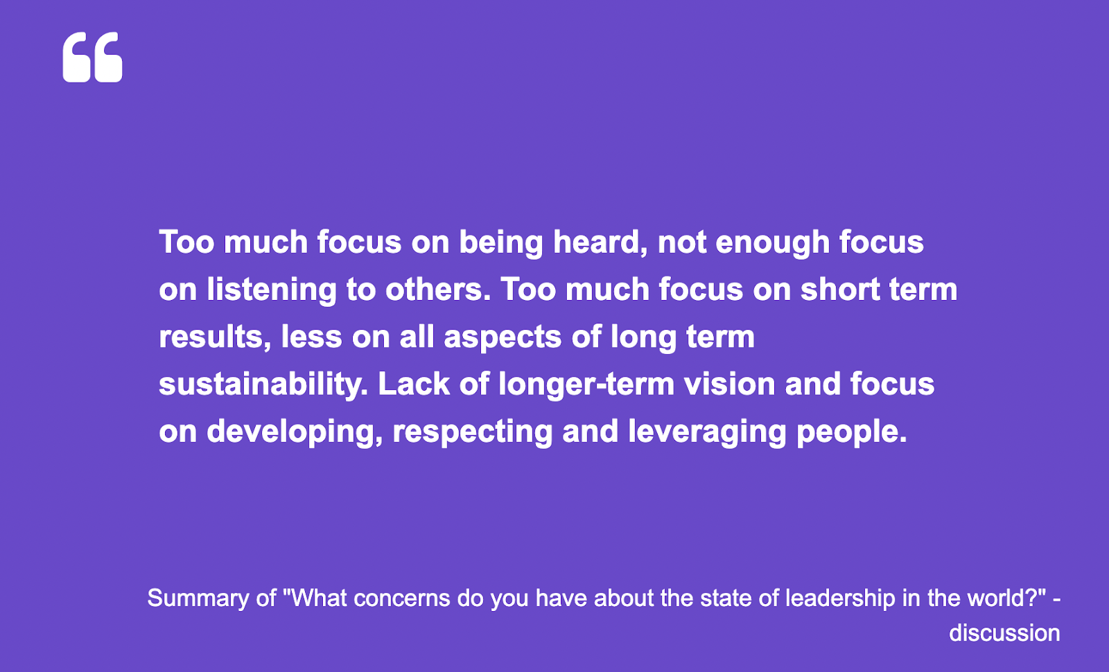 """Howspace AI summary of """"What concerns do you have about the state of leadership in the world?"""" discussion"""