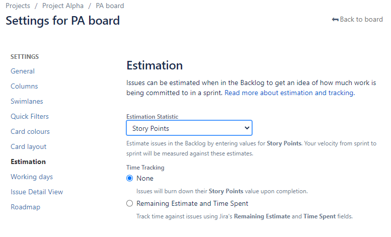 Setting up Estimation Statistic in Jira Boards