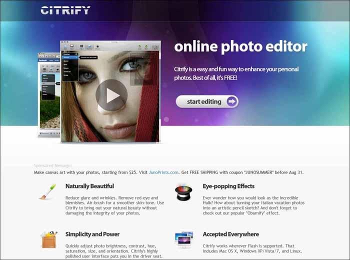 citrify 16 Melhores Editores de Fotografia Gratis para Utilização Online