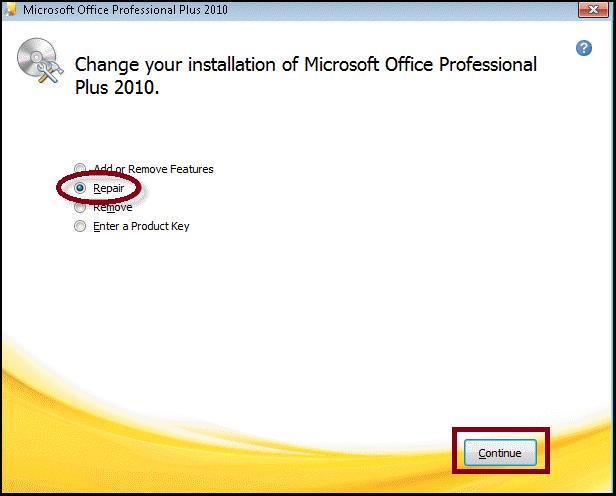 Repair Outlook program to fix Outlook Error 0X8004210B