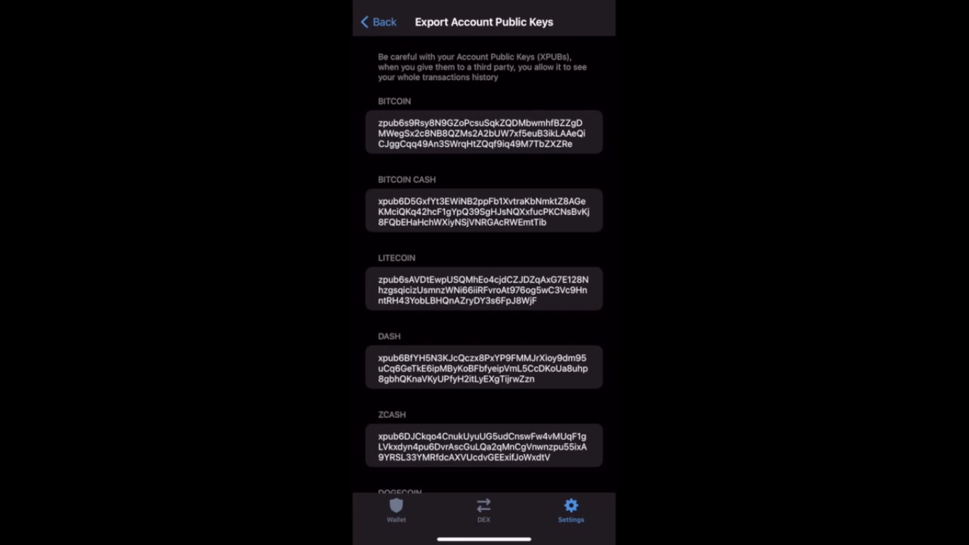 Example of the public keys that could connect your Trust wallet to ACCOINTING