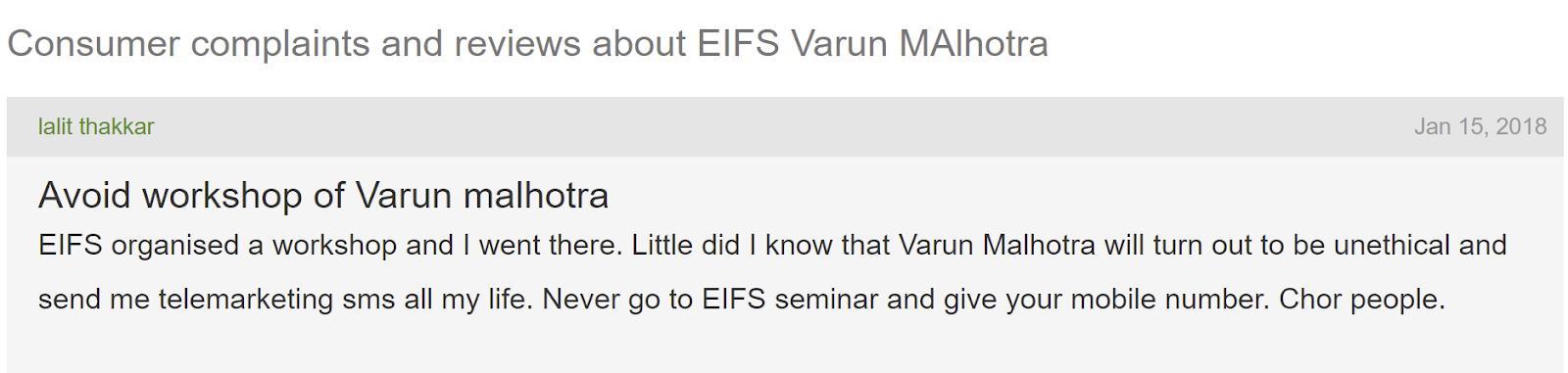 Varun Malhotra reviews & complaints