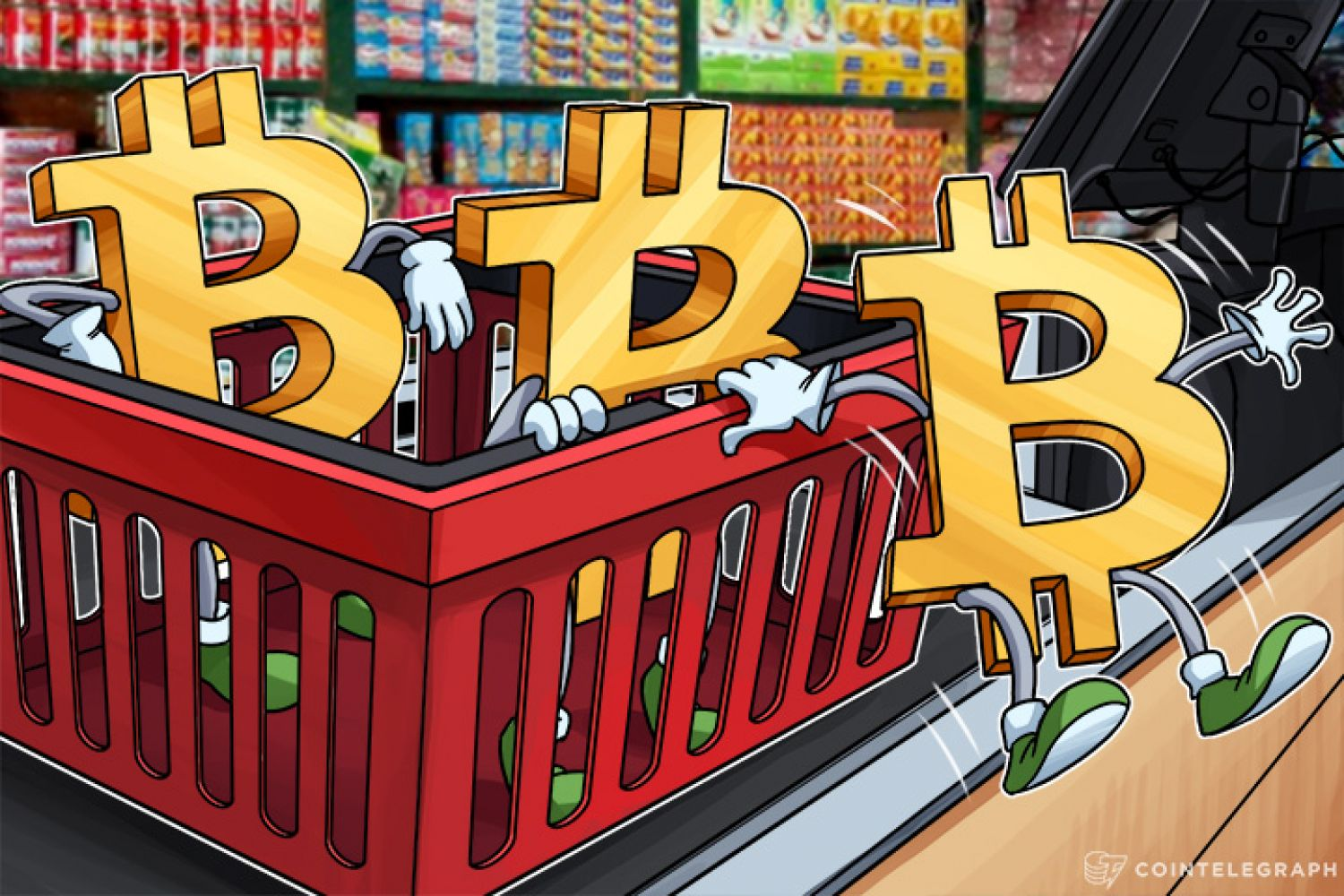 Bitcoins in a basket