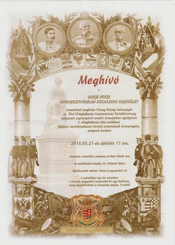 Tószegi 1. világháborús emlékmű avatásának meghívója