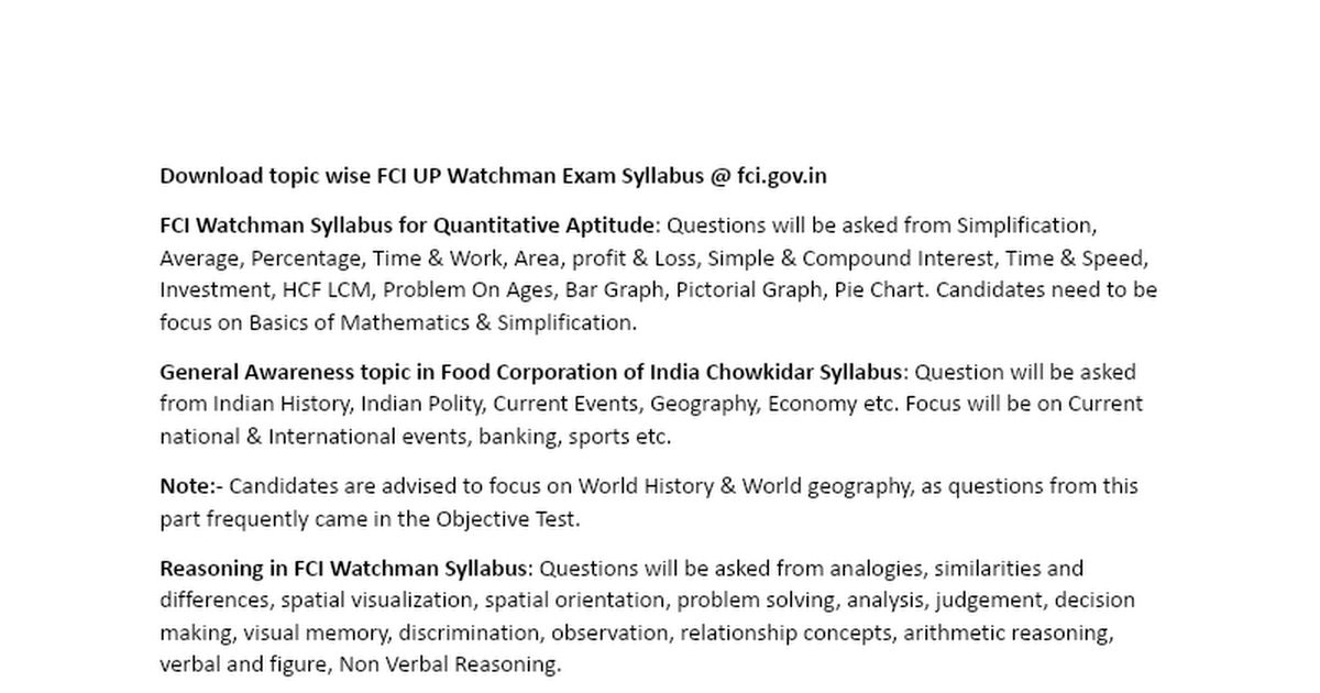 Download topic wise FCI UP Watchman Exam Syllabus docx