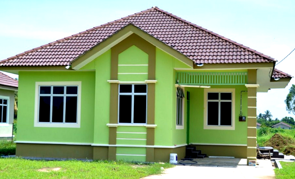 warna bagian luar hijau di rumah minimalis