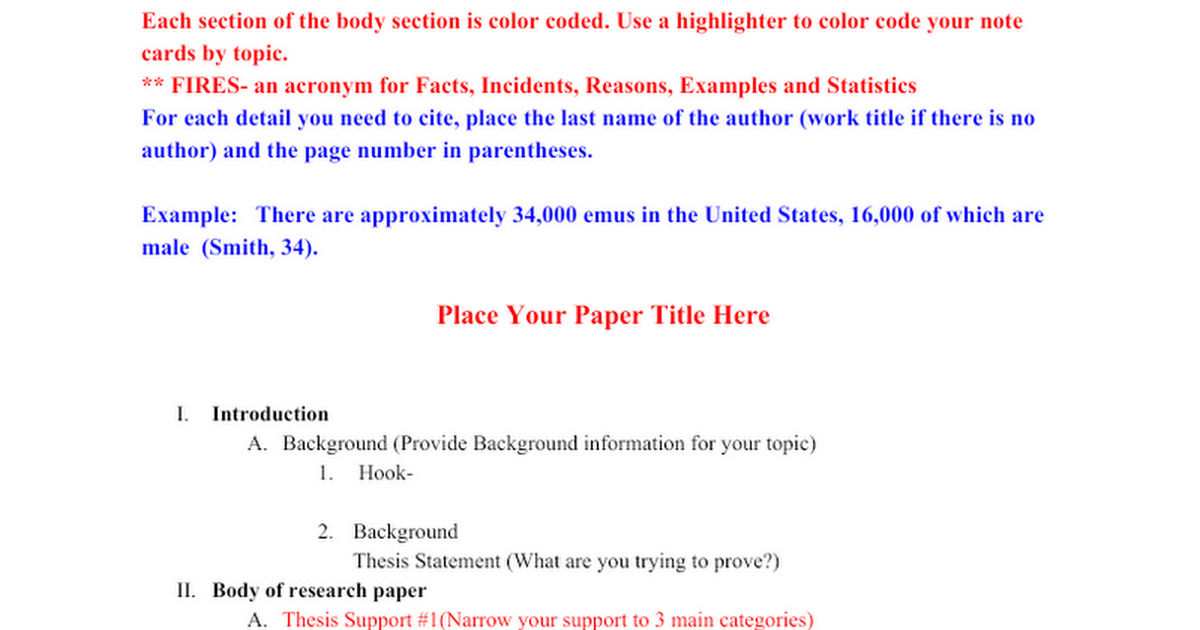 2013 Senior Project Research Paper Outline Template Google Docs – Paper Outline Template