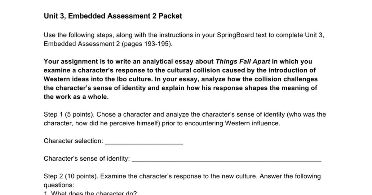 unit embedded assessment planning guide google docs