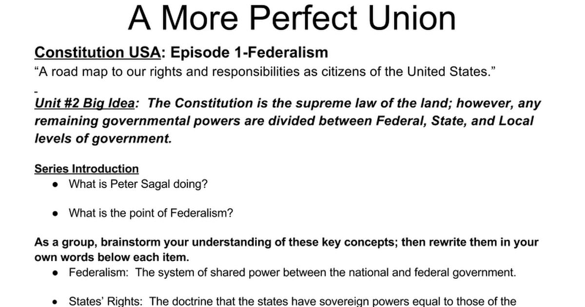 constitution usa federalism episode 1 google docs. Black Bedroom Furniture Sets. Home Design Ideas