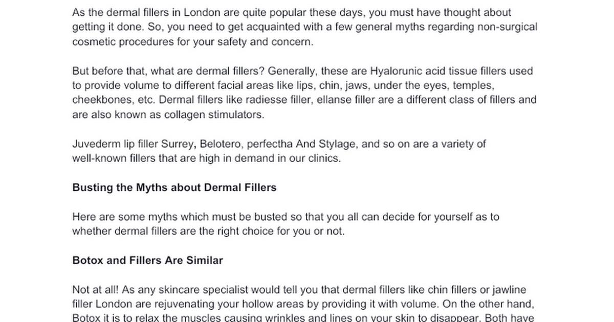 General Myths Surrounding Dermal Fillers