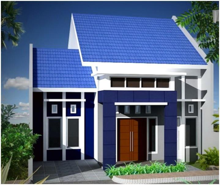warna cat rumah minimalis tampak depan biru