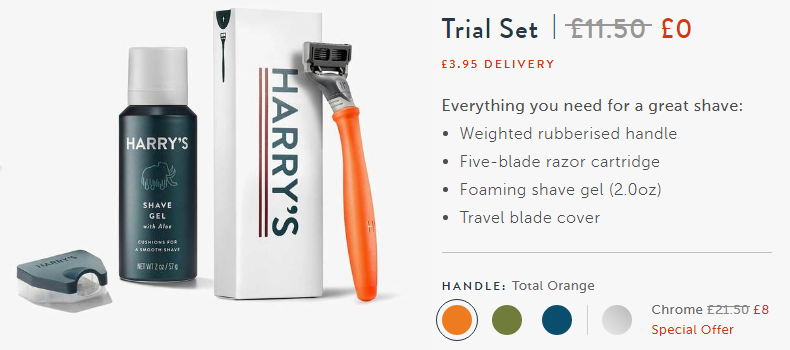 Coffee offer in physical products. Customization of trial offer: free + shipping. Harry's.