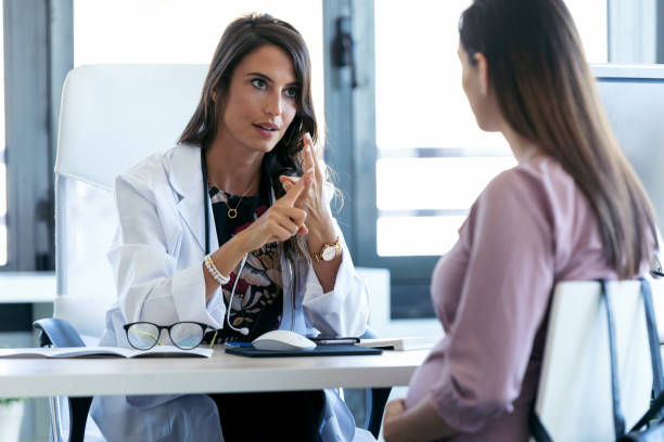 woman discussing about health