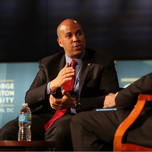 Cory Booker at an event where the opioid crisis was discussed.
