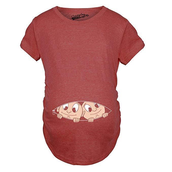 Crazy Dog T-Shirts Maternity Peeking Twins T-Shirt