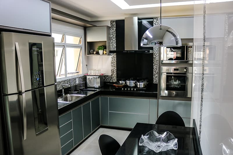 Grey Modular Kitchen Cabinets