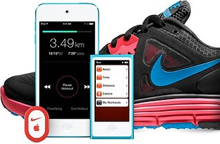 Nike+ shoe, iPhone, and iPod showing the Nike/Apple brand partnership