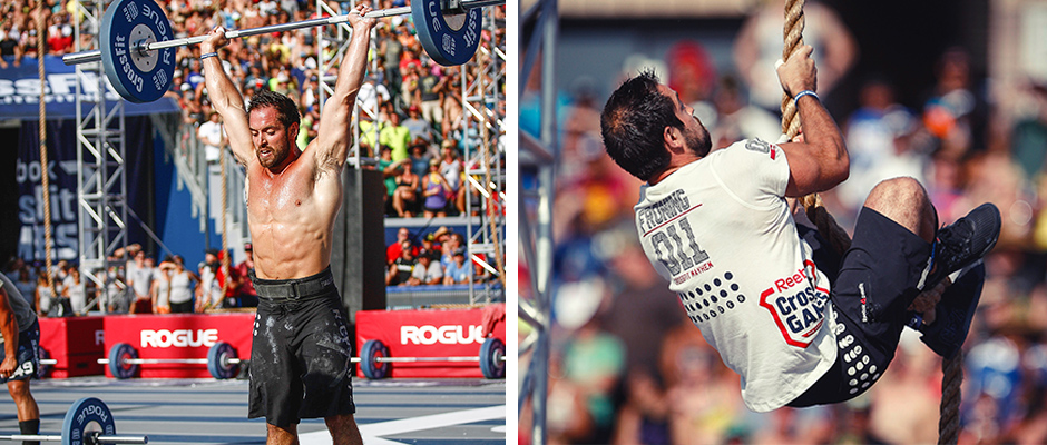 Froning fittest man on earth, solo crossfit games champion in 2011, 2012, 2013 and 2014) performing live, shoulder press on the left and rope climbing on the right.