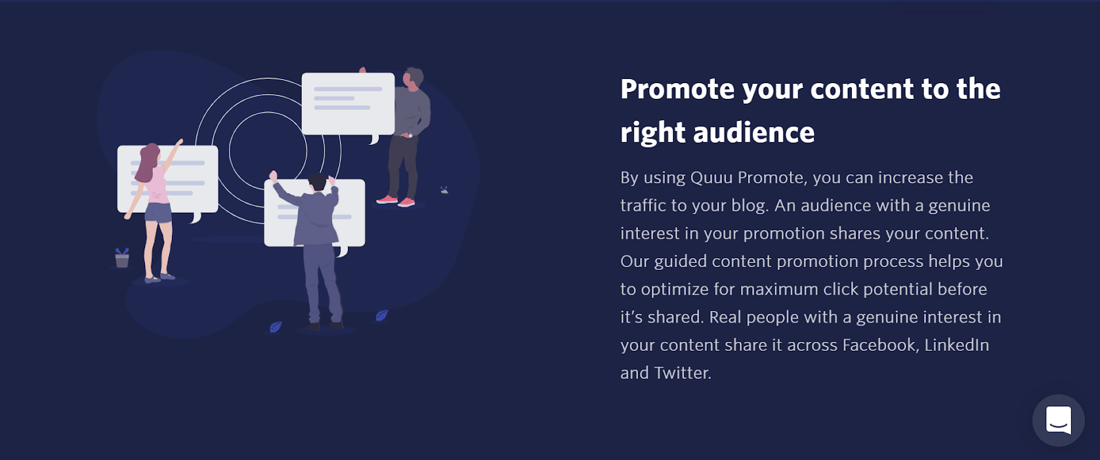 "An image taken from the Quuu Promote landing page, it shows three animated people holding large speech bubbles of content and pinning them to specific areas to reach the right people. The heading to the right of the illustration reads: ""Promote your content to the right audience"""