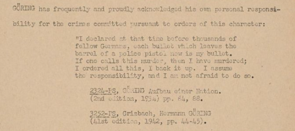 Document of Goering's quotes: from The Individual Responsibility of the Defendant Herman Goering p.9: http://hdl.handle.net/11134/20002:1587