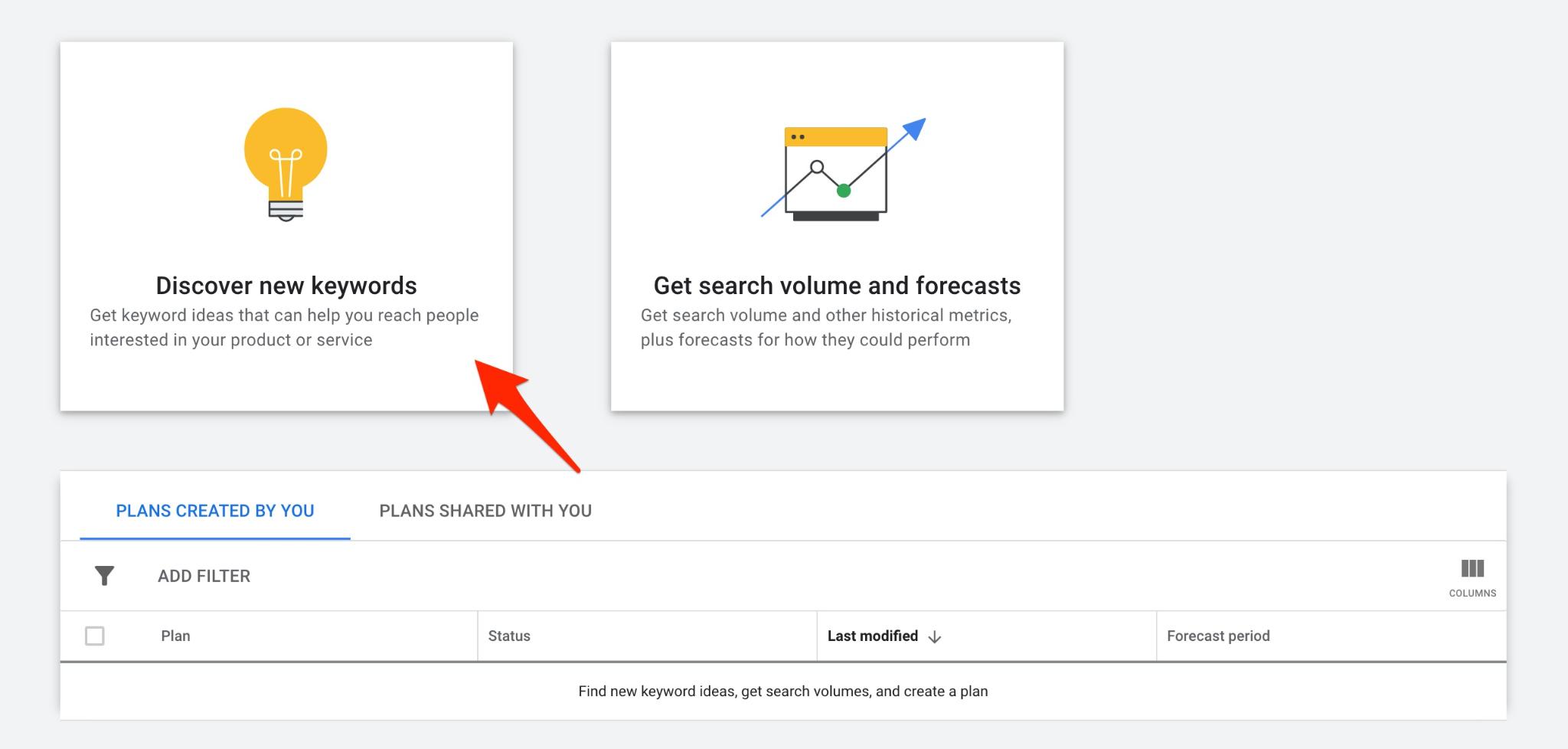 google ads for doctors - keyword planner tool