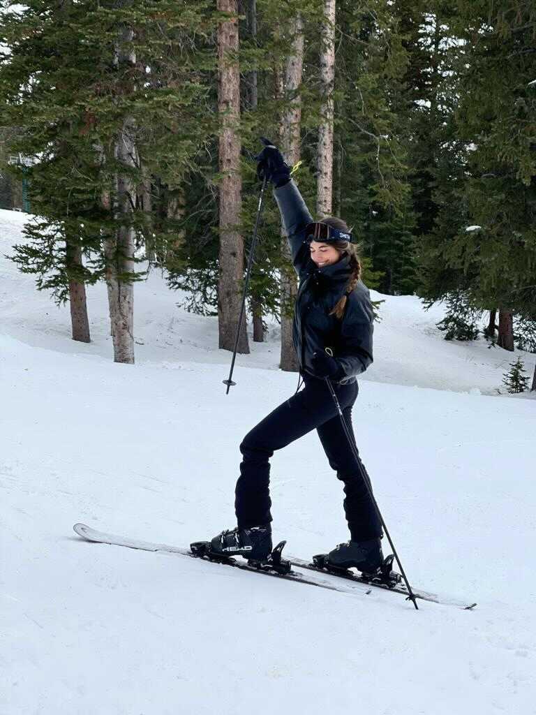 Bárbara esquiando en Brighton