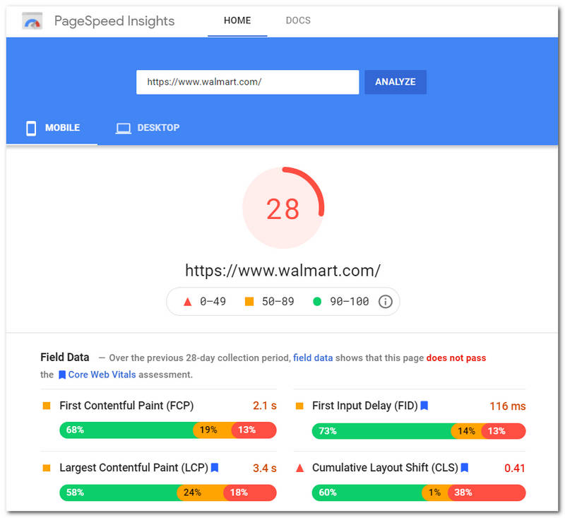 Walmart as seen by Google PageSpeed Insights on June 26, 2021